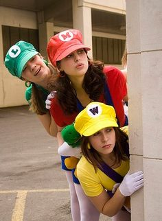 mindi brandi this would be fun for this halloween unless mindi wants to be a penguin again group costume mario luigi wario check out the website to - Girl Mario And Luigi Halloween Costumes