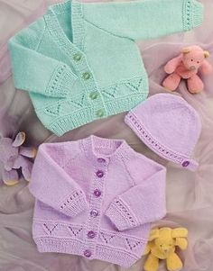 Knitting Pattern Baby Cardigan & Hat Easy to Knit DK for sale Free Knitting Patterns Uk, Baby Cardigan Knitting Pattern Free, Knitted Baby Cardigan, Knit Baby Sweaters, Cardigan Pattern, Neck Pattern, Easy Knitting, Baby Knitting Patterns Free Newborn, Knitting Needles