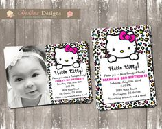 Hello Kitty Birthday Party Invitation Colorful by montrosedesigns, $10.00