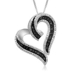 "1/2 Carat T.W. Black and White Diamond Sterling Silver Heart Pendant, 18"" - Walmart.com"