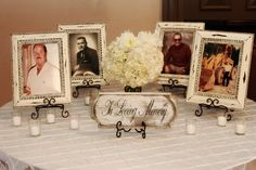 If we did something for those who are no longer here (the grandparents)- this table set up looks nice. I don't know if we would want to include something like this, but it's something to discuss wedding tables, small tables, memori, far away, wedding table settings, candles, rustic weddings, reunion, memory table
