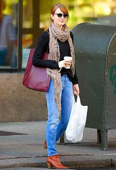 cozy sweater, a taupe scarf, boots & jeans