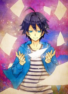 Tags: Anime, Bakuman。, Mashiro Moritaka, Paper, Striped Shirt