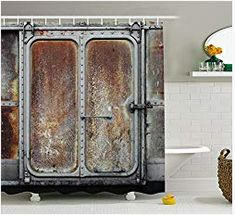 Industrial Decor Shower Curtain Set by Ambesonne, Vintage Railway Container Door Metal Old Locomotive Transportation Iron Power Design, Bathroom Accessories, 75 Inches Long, Grey Brown Vintage Industrial Decor, Industrial House, Industrial Chic, Bathroom Decor Sets, Bathroom Accessories, Design Bathroom, Industrial Showers, Man Cave Bathroom, Grey Curtains