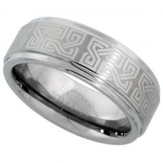 8mm Tungsten Wedding Band Etched Celtic Knots Recessed Edges Comfort fit, sizes 7 to 14