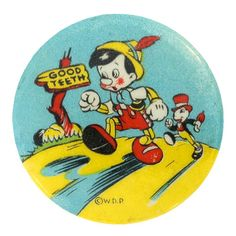 """On February 7, 1940 """"Pinocchio"""" world premiered at the Center Theatre in Manhattan. This and other movie buttons can be found at TedHake.com!"""