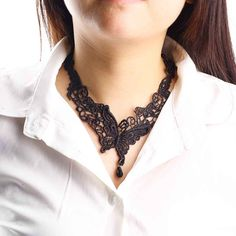 Vintage Lace Necklace Gothic Black butterfly lace Choker Necklace for lady fine Jewelry