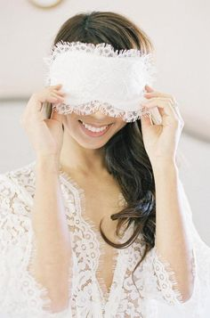 Swan Queen French Lace & Silk Sleep Eye Mask Bridal Party