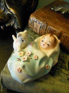 Vintage Josef Originals figurine - Swaddled baby with white kitten.