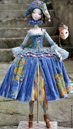 Коллекционные куклы ручной работы. Коломбина в голубом. Татьяна Пущина. Ярмарка Мастеров. Кукла ручной работы, акриловые краски