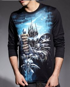 World of Warcraft black t shirt for men Arthas Menethil WOW long sleeve tee-