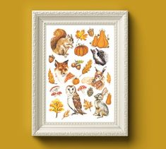 Autumn Art, Fall Decor, My Etsy Shop, Just For You, Hand Painted, Art Prints, Frame, Illustration, Check