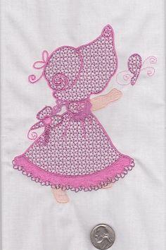 2 Sunbonnet Sue Suzie Q Lace dress embroidered fabric quilt blocks squares