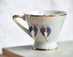 Earrings Love Has Wings purple enamel hearts on by lePetitFoyer, $22.00