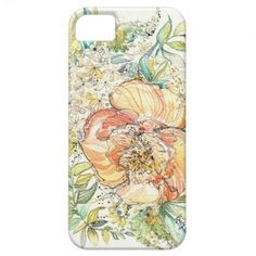 Peach Peony Watercolor iPhone Case iPhone 5/5S Cover $42.95