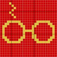 HP glasses, red & gold - Stitch Fiddle