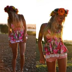 Fron nature with love - floral boho hippie festival tank top