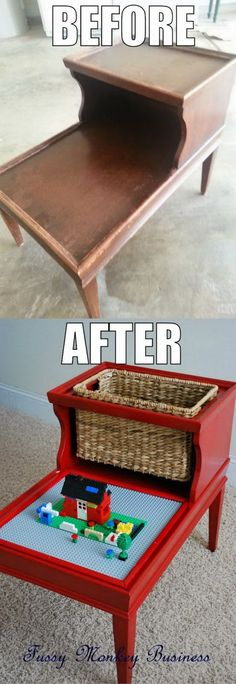 DIY LEGO table made from an old furniture. http://hative.com/creative-lego-storage-ideas/