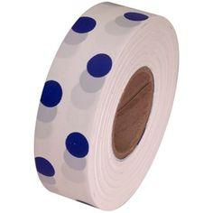"White and Blue Polka Dot Flagging Tape 1-3/16"" x 300'"