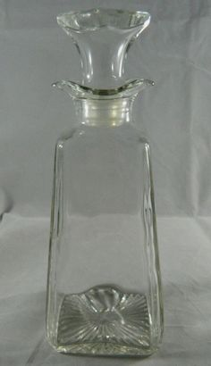 """Vintage Clear Pressed Glass Oil Cruet with Stopper 7.5"""" Decanter Heavy Jar #Unkown"""