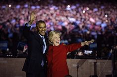 Hillary Clinton, 2016 Democratic presidential nominee, right, and U.S. President Barack Obama wave to the crowd during a campaign event in Philadelphia, Pennsylvania, U.S., on Monday, Nov. 7, 2016. Clinton leads Donald Trump by three percentage points among likely voters nationally, the latest sign that her campaign's painstaking focus on women, Latinos, and blacks could help propel her to the White House. Photographer: Charles Mostoller/Bloomberg via Getty Images