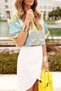 fashion, style, outfit, women, clothing, summer, yellow, handbag, skirt, white, top, bracelet, beautiful