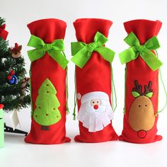 3Pcs Santa Claus Wine Bottle Cover Bags - Santa, Reindeer and Snowman Christmas Table Decor