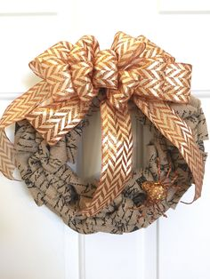 Halloween Script Burlap Wreath with Glittery Sequined Spider by BellevueCreek on Etsy
