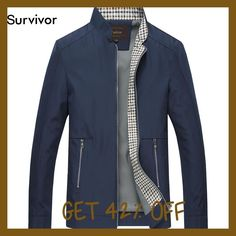 iSurvivor 2017 Men Autumn Jackets and Coats Jaqueta Masculina Male Causal Fashion Slim Fitted Large Size Zipper Jackets Hombre
