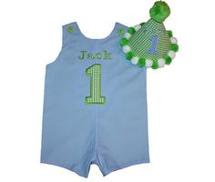 Light Blue/Lime Green Birthday Shortall & Hat