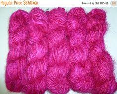 SALE Sari Silk recycled  Yarn  Fushia by SilkDivine on Etsy