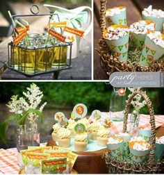 i love the ides for the favors =) esp the cones for popcorn, candy, etc...in a basket of some sort!!
