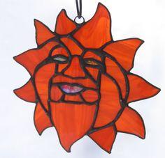 Sun Suncatcher in Orange Stained Glass