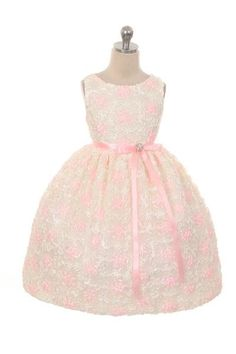 Gorgeous floral lace mesh dress with satin ribbon and brooch. #JUB #justuniqueboutique #flowergirldress #flowergirldresses #kidsfashion #fashionkids #toddlerdresses #pink #pinkdress http://www.justuniqueboutique.com/cute-satin-floral-embroidered-dress.html