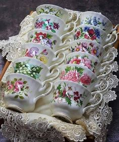 "katysflowersandantiques: "" Royal Albert - Flower of the month series - tea cups Source "" Vintage Dishes, Vintage China, Vintage Tea Cups, Royal Albert, Tea Cup Display, Teapots And Cups, Teacups, China Tea Cups, My Cup Of Tea"