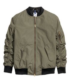 Bomber Jacket | Khaki green | Men | H&M US  The bomber jacket was made popular by fighter pilots during World War II. Now days they are a staple in fashion globally. It seems like every brand has their own version of the jacket ranging from unreasonably pricy to affordable. Gabe D