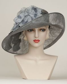 Virginia, gunmetal/dove, parisisal crown & sinamay brim hat with vintage…