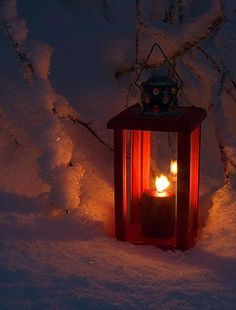 Welcome Lantern in the Snow