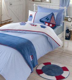 NEU Catherine Lansfield Segelboot Kinderzimmer-Bettwäsche Teppich Gardinen Throw