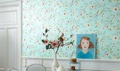 Resultado de imagem para papel de parede estampado azul turquesa