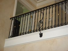 Railing With Scroll Borders, Brass Collars And Handrail