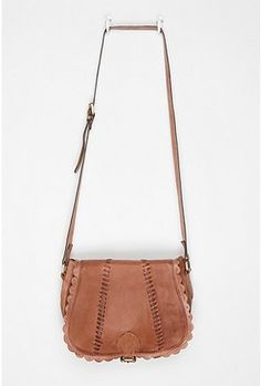 scalloped leather crossbody bag