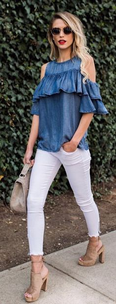 #spring #outfits Denim Ruffle Cold Shoulder Top + White Skinny Jeans + Nude Wedge