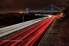 Looking at the Verrazano Narrows Bridge on the Belt Parkway Brooklyn New York