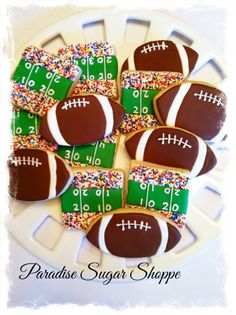 football decorated cookies from Paradise Sugar Shoppe