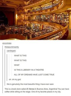 Book store in Argentina. I want to go so bad! Nerd Quotes, Book Nerd, Reading Lists, Simple Life Hacks, Book Nooks, Amazing Architecture, Book Lovers, Things To Think About, Cool Pictures