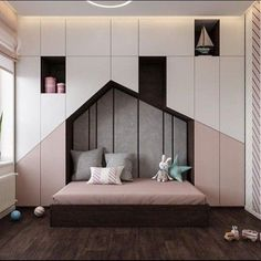 Luxurious Interior With Wood Slat Walls is part of children Room Girl - Get onboard with the wood slat wall trend with this luxurious home interior; featuring wood slat dividing walls, wall panel design and wood ceiling ideas Kids Bedroom Designs, Kids Room Design, Room Interior Design, Luxury Interior, Interior Colors, Interior Modern, Interior Ideas, Bedroom Furniture, Bedroom Decor