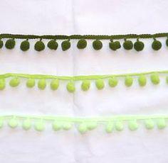 Medium Pompom Trim Metre - Greens #craft