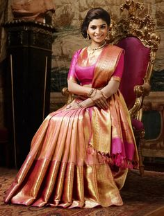 Pink & Gold Kanchipuram Wedding Silk Saree {The Chennai Silks}