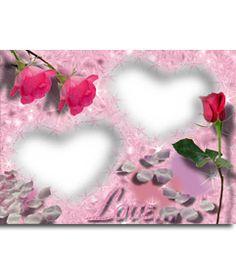 Postal para tu enamorado, rosa con corazón. Personalizable con 2 fotos. #fotoefectos #fotoefectos.com #Tarjetasdeamor